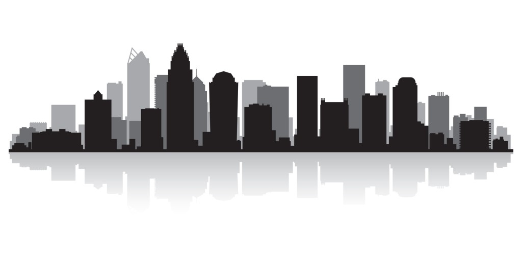Charlotte city skyline silhouette